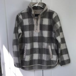 Gray & white plaid Sherpa pullover, XS